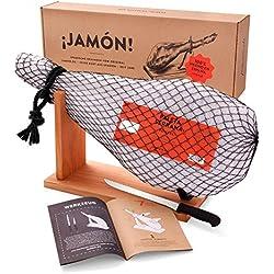 Jamon-Box Nr. 1 - Serrano-Schinken 4,5 Kg im Geschenkkarton mit Zubehör | Schinken-Set inklusive Schinkenständer, Messer & Schneide-Anleitung | ideal für Schinken-Einsteiger & als Geschenk