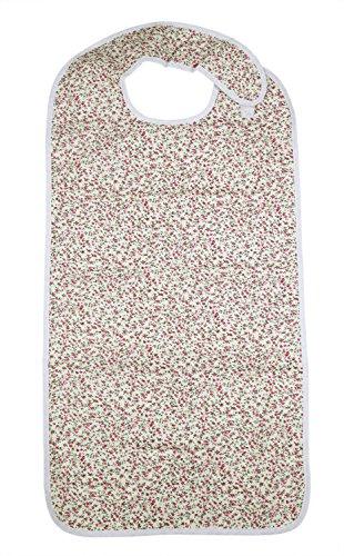ObboMed MG-1500NA Wasserdichte Essschürze, Latzschürze, Lätzchen, Kleidungsschutz Erwachsene, Senioren Essschutz; Pink Blumenmuster - 45 x 91 cm