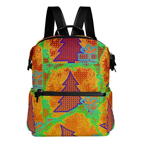 KIMDFACE Rucksack,Weihnachtsbaum Illustrations Tupfen,Laptoptaschen Casual Print Umhängetasche Student Daypack Reisen Wandern Camping Packs(29 * 16 * 38 cm) -