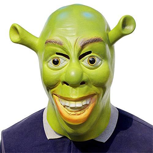 Halloween Kostüm Cosplay Maske, lustige Monster Shrek Kopf Maske, Latex realistische Party Maske, Maskerade Halloween Kostüm (Shrek Kostüm Accessoires)