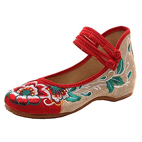Hibiscus Embroidery Flats Single Shoes Fashion Woman Embroidered Dance Shoes Chinese Traditional Footwear(Low heel 1-3CM)by Elaiya