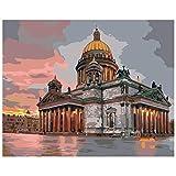 Pintar por Numeros Adultos Niños Catedral de berlín DIY Pintura al óleo Kit Lienzo de Bricolaje Decoración para Hogar Regalo 40x50cm Sin Marco