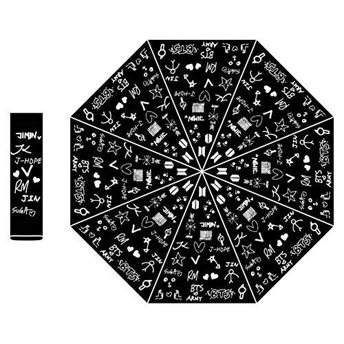 Yovvin BTS Regenschirm, KPOP Bangtan Jungen Jungkook, Jimin, V, Suga, Jin, J-Hope, Rap Monster Faltbarer Regenschirm Winddicht UV Sonnenschirm Regenschirm The Army (Style 05)