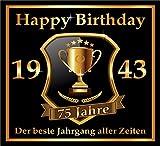 3 St. Aufkleber Original RAHMENLOS® Design: Selbstklebendes Flaschen-Etikett zum 75. Geburtstag: 1943 Der beste Jahrgang