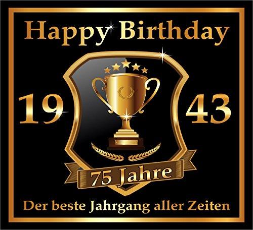 3 St. Aufkleber Original RAHMENLOS® Design: Selbstklebendes Flaschen-Etikett zum 75. Geburtstag: 1943 Der beste Jahrgang (75. Geburtstag)
