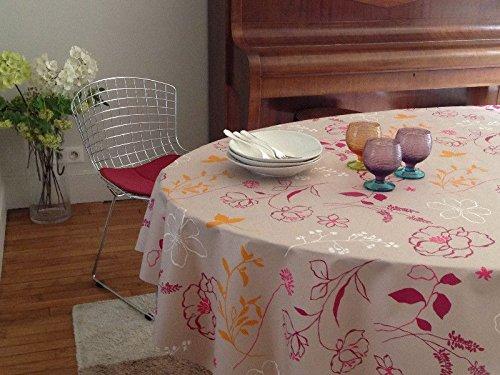 Fleur de soleil Nappe Camélia Orange Coton Enduit 160x160