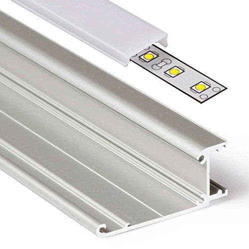 Acryl Endkappen (1m Aluprofil WALLE (WL) 1 Meter Aluminium Profil-Leiste eloxiert für LED Streifen - Set inkl Abdeckung-Schiene milchig-weiß opal mit Montage-Klammern und Endkappen (1 Meter milchig click))