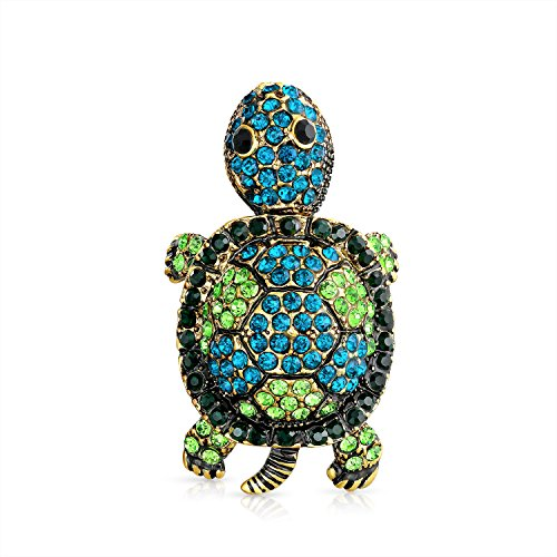 Teal Mode (Bling Jewelry Große Mode Kristall Teal Grün Erklärung Schildkröte Schildkröten Brosche Pin Für Damen Für Mutter Versilbertes Messing)