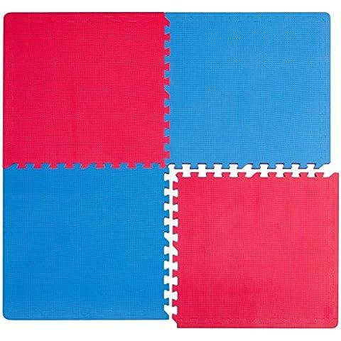 Suelos de Gimnasio en Puzle | 4 Alfombras más 8 Marcos | en Espuma EVA | Ideal para Yoga Gimnasia Judo etc | Espesor 20mm | Azul