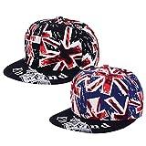 MagiDeal 2 Pezzi Unisex Uomo Donna Amore Union Jack UK Snapback HipHop Hat Cap Cappelli immagine
