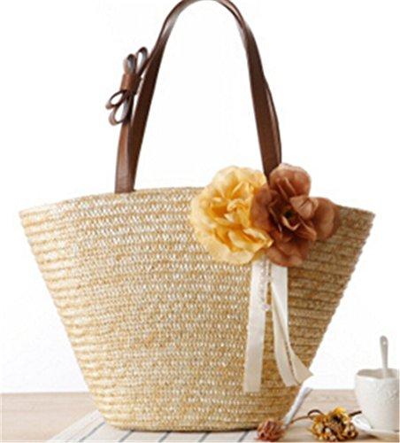Neue Zeitschrift Artikel Mischung Zwei Blumen Geflochten Massiv Tasche Beach Bag, Rose