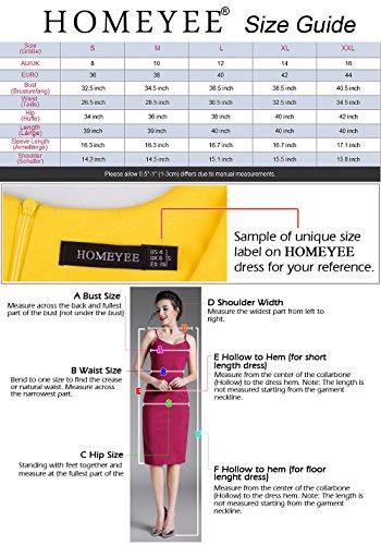 HOMEYEE Damen Vintage-Ausschnitt Kontrast Blumenabend Pencilkleid B288 Dunkelblau + Floral - 3/4 Ärmel