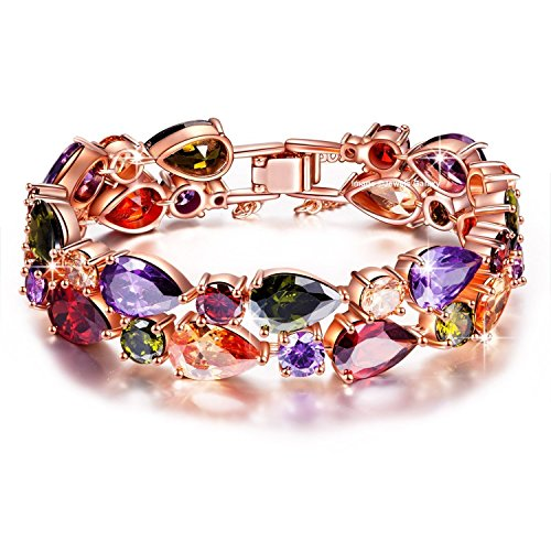 Jewels Galaxy Multi Colors Vine Aaa Swiss Cubic Zirconia 18K Rose Gold Plated Sparkling Bangle For Women