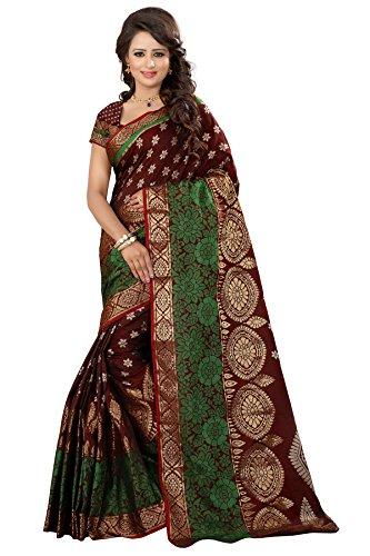 The Fashion Outlets Women's Cotton Silk Zari Jacquard Sarees(Free Size_Maroon)