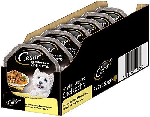 Cesar Hundefutter Nassfutter Empfehlung des Chefkochs Huhn, Reis, Gemüse, 7 er Pack, (7 x 2 Schalen x 150 g)