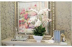Rare & Real Touch - Pianta artificiale di orchidea farfalla, 2 steli con 2 foglie in coordinato - bianco & viola chiaro