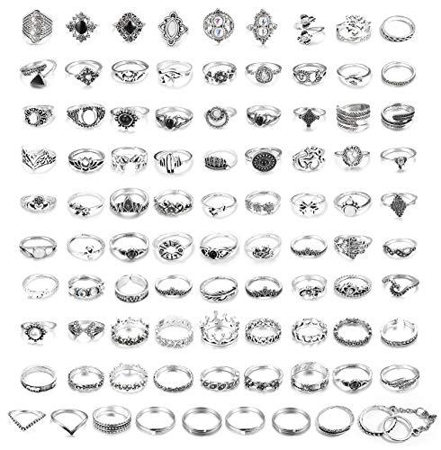 sailimue 90 Stücke Vintage Knuckle Ringe für Frauen Mädche Midi Fingerring-Set Türkis Opal Wave Ring Stapeln Ringe Boho Modeschmuck Geschenk