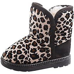 DEHANG-ragazzi e ragazze Leopard neve stivali breve scarpe in caldo pile lunghezza 17cm