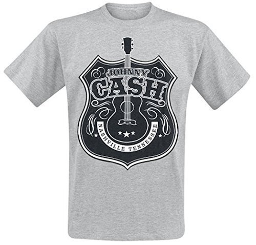 JOHNNY CASH - JOHN CASH NASH - OFFICIAL MENS T SHIRT - cotone, Grigio, 100% cotone, Uomo, XX-Large