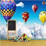 Fushoulu Mur 3D Mur Air Ballon Chaud Sur Les Nuages   Photo Papier Peint Pour Enfants...