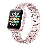 Compath Apple Watch Band 38MM, for Cowboy Apple Watch Band,Adjustable Stainless Steel Metal Cowboy Chain Wrist Band for Apple Watch iWatch Sport Edition Series 3,Series 2,Series 1(38mm) (Rose Gold)