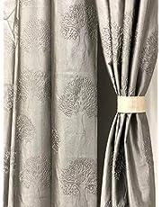 RIDHAAN Long Crush Fabric Tree Design Punching 7 feet Size Curtain R (Grey) Set of 2 Curtains