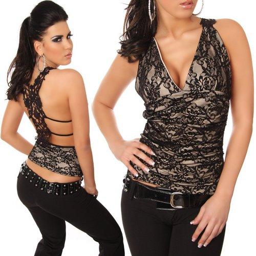 In-Stylefashion - Canotta - Scollato sulla schiena  - Collo a V  - Senza maniche  -  donna Beige