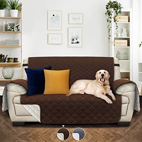 Utopia bedding copridivano reversibile - resistente allo sporco - protezione per mobili per animali domestici e bambini [adatto a divani in pelle - no] (2 posti, marrone/beige)