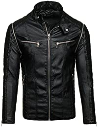 BOLF – Veste sans capuche – Faux cuir – Fermeture éclair – Homme [4D4]