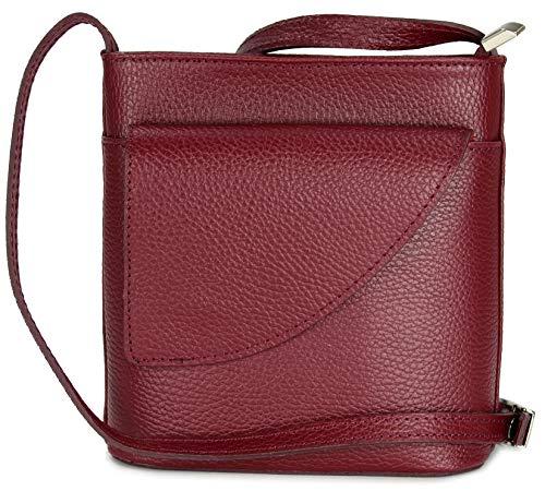 Belli ital. Ledertasche Damen Umhängetasche Handtasche Schultertasche mit zusätzlichem Klappfach...