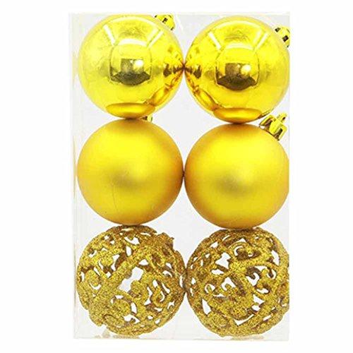 Weihnachts Kugel Schneeflocke Christbaumspitze Metallhaken Anhänger Baumschmuck Weihnachten Hirolan 6 Stück Ornament Hochzeit Party Dekorationen (Gelb)