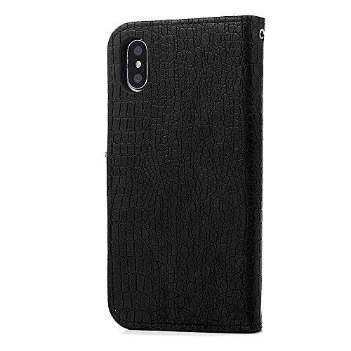 Badalink Hülle für iPhone X Schwarz Handyhülle Krokodilmuster Case Cover Magnet Flip Case Schutzhülle Kartensteckplätzen und Ständer Handytasche Schwarz