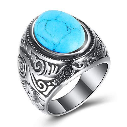 VQYSKO Ring Herren Edelstahl Ring Türkis Stein Klassiker Retro 3 Farben Kunststein Edelstahl Ring und Geschenk Box Größen 54 (17.2) - 66 (21.0) (Türkis Stein, 54 (17.2))