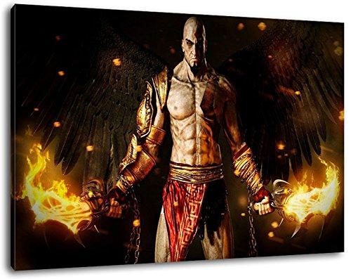god of war Format 120x80 cm Bild auf Leinwand, XXL riesige Bilder fertig gerahmt mit Keilrahmen, Kunstdruck auf Wandbild mit Rahmen Videospiel-leinwand