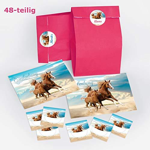JuNa-Experten 12 Einladungskarten zum Kindergeburtstag Pferd / Fohlen / Zwei Pferde / schöne und Bunte Einladungen für Mädchen inkl. 12 Umschläge, 12 Party-Tüten / rosa, 12 Aufkleber
