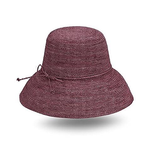 JOOWEN Handmade Summer Women's 100% Raffia Straw Braid Buckt Sun Hat Crochet with Straw Bow Tie