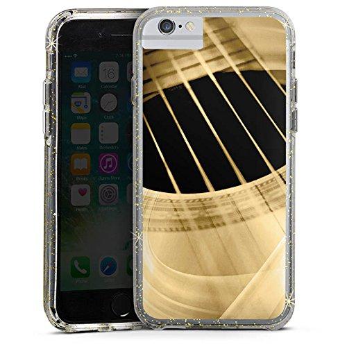 Apple iPhone 6s Bumper Hülle Bumper Case Glitzer Hülle Gitarre Instrument Saiten Bumper Case Glitzer gold