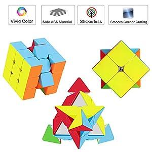 ROXENDA Speed Cube Set, Cubos de Velocidad 2×2 3×3, Fácil de Tornear y Liso Jugar, Cubo de Velocidad para Principiantes…