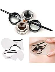 Eye Pochoir,Tinabless 2 en 1 Marron et Noir Imperméable Gel Eyeliners Set avec Cosmetiques Maquillage Sourcils Brosse Kit et Cat Yeux Liner Stencil