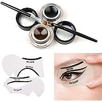 Tinabless - Conjunto de delineadores de gel impermeables o maquillaje para cejas, pinceles y plantilla guía para delineadores, color marrón y negro