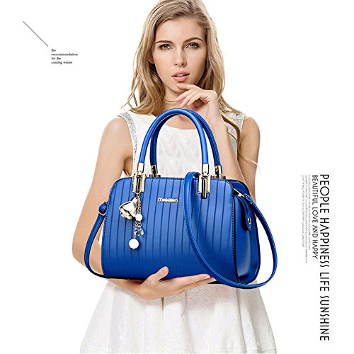 Yoome Elegant Handtaschen Streakiness Hardware Anhänger Top Handle Satchel Schultertaschen Für Frauen - Schwarz L.Khaki