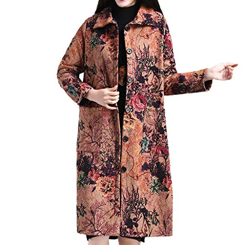 Bauycy Jacke Damen Wintermantel Winterjacke Langes Revers National Wind GroßE KnöPfe Baumwolle Plus Samt Dicker Mantel Mantel Baumwolldecke Frauen Herbst Winter Plus Size Long Sleeve Long Jacket,
