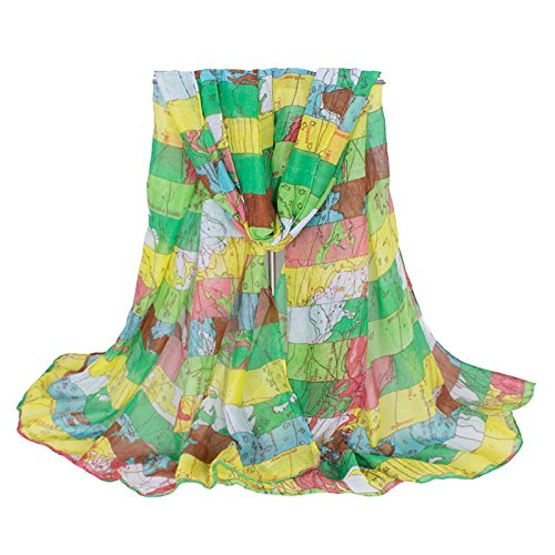 Swallowuk Lady Mode Weltkarte Neck Scarf Elegant Damenschals (Grün) (Bali Womens Grün)