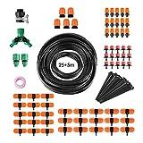 FIXKIT Kit de Riego por goteo Sistema Automático de Irrigación Adecuado para Jardín Patio Césped (40M Manguera+30PCS Goteros)