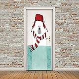 3D Stickers De Porte Autocollant De Porte 3D Dessin Animé,Animaux,Motif Ours Auto-Adhésif Imperméable Amovible Bricolage Papier Peint Mural Murales Pour Chambre À Coucher Art Autocollant Décora