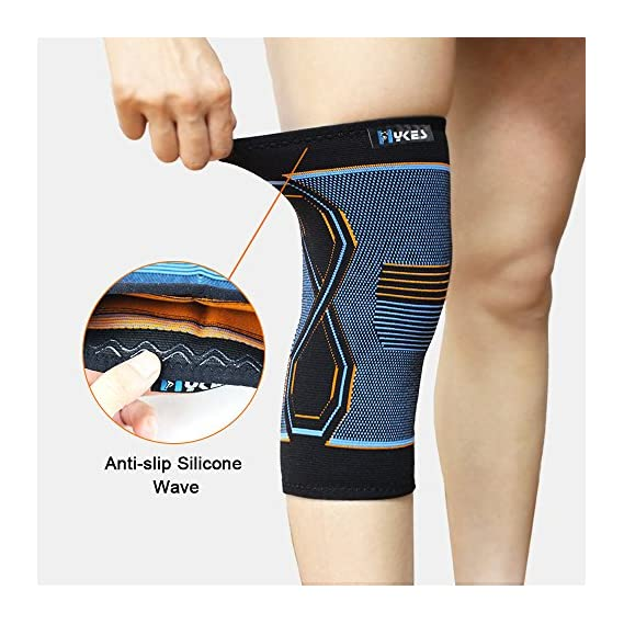 Hykes Knee Cap Compression Support Sleeve For Pain Relief, Cycling, Running, Sports, Basketball, Badminton, Jogging, Gym, Workout, Arthritis fits Men and Women(Pair)