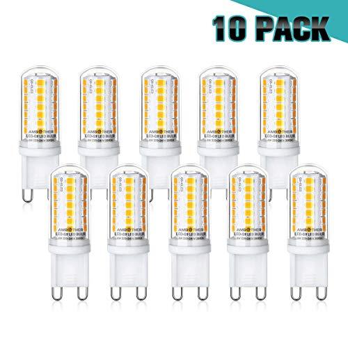 AMBOTHER G9 LED Lampen, 4W 450LM Warmweiß 45x 2835SMD LED statt 40W Halogenlampen, G9 LED Birne Leuchtmittel Glühbirnen, Kein Flackern Nicht Dimmbar AC 220-240V, 10er Pack -