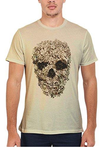 Skull Flower Retro Vintage Men Women Damen Herren Unisex Top T Shirt Sand(Cream)