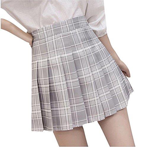 YUCH Faldas para Mujeres Estudiantes Cremalleras De Cintura Alta Faldas Cortas Ropa De Verano Y Otoño, Gris, XL