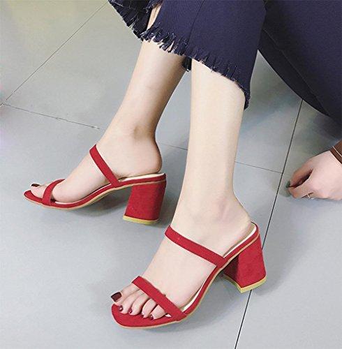 Frau Sommer Sandalen rau mit minimalistischem Mode Schuhen mit hohen Absätzen Sandalen Wort quadratischer Kopf Red
